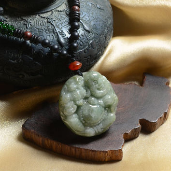 Life in Joy, Happy Buddha with Fortune Tiger Jade Gemstone Amulet Necklace