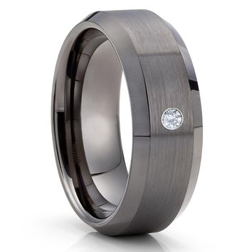 Gunmetal Tungsten Ring - White Diamond Ring - Gray Tungsten Band - 8mm