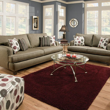 2 pc Arman contemporary style Pewter gray fabric Sofa and love seat set with square set back arms Made in the USA