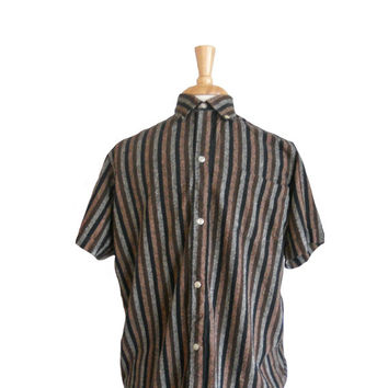 Vintage 1950s Men's Shirt Button Down Collared Vertical Stripes Brown, Gray, and Black - Short Sleeves 100% Raw Silk Imported