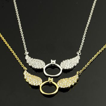 Rose Gold Color Messengers CZ Angel Wing Statement Necklace Women 2017 New Vintage Jewelry Best Friends Tattoo Choker