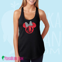 Minnie Mouse Monogrammed Glitter Womens Racerback Tank Top in Black