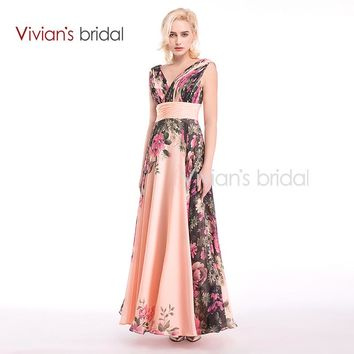 Bridal Sexy Deep V-Neck Flower Pattern Floral Print Long Chiffon Evening Dress Gown