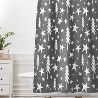 Heather Dutton Wish Upon A Star Grey Shower Curtain And Mat
