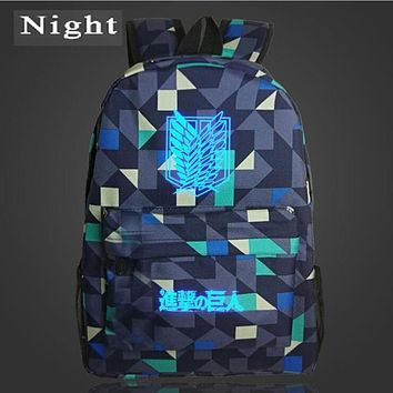 Cool Attack on Titan Night Luminous  Backpack Japan Anime Printing Backpack Cartoon Light Bag Nylon Galaxy School Bag for Teenagers AT_90_11