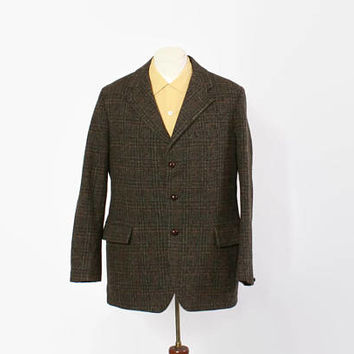 Vintage 60s Harris Tweed Blazer / 1960s Men's Green Plaid 3 Button Wool Suit Jacket M 42