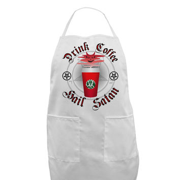 Red Cup Drink Coffee Hail Satan Adult Apron by