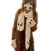 Beige Panda Scarves Gloves and Masks Winter Three-Piece Suit