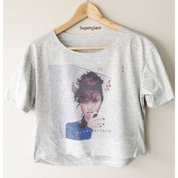 Demi Lovato Singer Pop Soul R&B Women Top Wide Crop Fashion T shirt