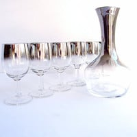 Vintage Silver Fade Wine Glasses with Decanter