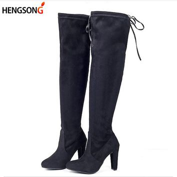 Stretch Faux Suede Female Women Boots Slim Thigh High Boots Sexy Fashion Over Knee Boots High Heels Botas Women Shoes OR934295