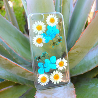 Dried Flower iPhone 5 5s Case - Apple iPhone 4 4s  - Pressed Flower iPhone 6 Plus Case - Floral iPhone 5c - Clear iPhone 6 White Daisy Case
