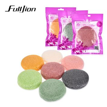 Fulljion 1pcs Round Konjac Cosmetic Puff Face Wash Natural Plant Cotton Bamboo Charcoal Cleaning Wet Sponge Makeup 7 Color