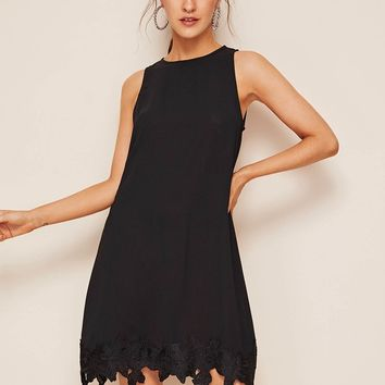Hollow Out Crochet Hem Button Keyhole Back Dress