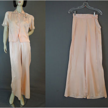 40s Peach Rayon Satin Pajamas, 32 bust 24 waist, Wide Legs, Small Vintage 40s Lingerie