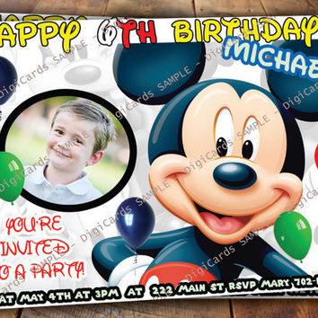 Mickey Mouse Birthday Invitation with YOUR PHOTO
