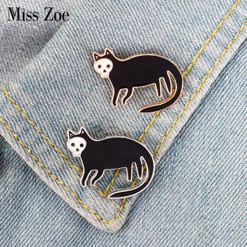 2styles Black cat with Skull face Enamel Pin Badge Dark gold silver brooch Animal Lapel pin Gothic Jewelry Gifts for Women Men