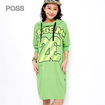 Autumn Winter Women Dress Fashion Long Sleeve Letter Number Print Loose Casual Pocket Female Dresses Cotton Clothes