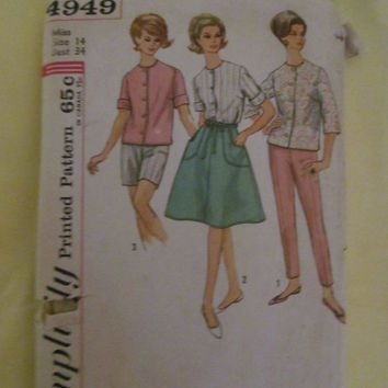Sale 1960's Simplicity Sewing Pattern, 4949! Size 14, Bust 34, Size Small to Medium, women's, Misses, Shorts, Boxers, Shirts, Skirt, Apron.