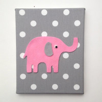 Pink Gray Polka Dot Elephant Nursery Wall Art Decor / Baby Girl Grey White Wool Felt / Upholstered Canvas