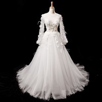 White Long Sleeves Sexy Wedding Gowns Appliques Pearls Princess Bridal Wedding Dress