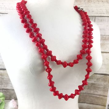 Vintage Candy apple red glass necklace, beaded necklace. Smooth Red milk Glass. Long necklace