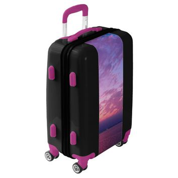 Purple, pink & blue sunset photo luggage suitcase