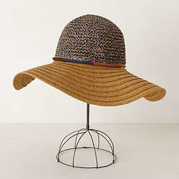 Two-Note Floppy Hat by Anthropologie Navy One Size Hats