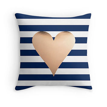 Gold Heart pillow - includes insert - Decor pillow, rose gold