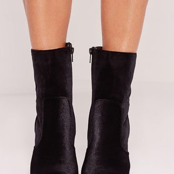 Missguided - Velvet Block Heeled Ankle Boots Black