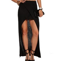 SALE- Black Overlap Maxi Skirt
