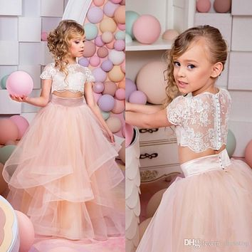 2017 Coral Blush Flower Girl Dresses for Weddings Two Pieces Beaded Girl's Pageant Gown Backless Cute First Communion Dress F100