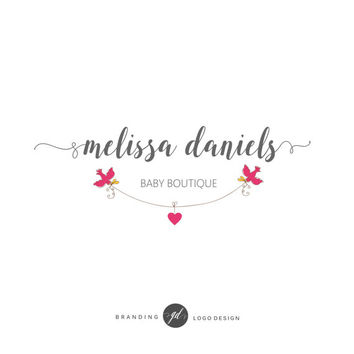 Wedding logo design, Event planner branding, Heart logo, Elegant logo baby boutique, Watercolor event logo, Branding kit, Bird logo, Love 76