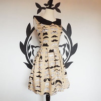 The 2nd Mustache Dress- Print Pleated Quirky Whimsical Dress for Mustache Lovers