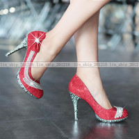 Red / Gold Vogue Flowers Glitter Crystal Stilettos High Heels Wedding Shoes