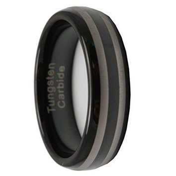 [Free Shipping] 6MM Black Tungsten Carbide Mens Wedding Band Ring