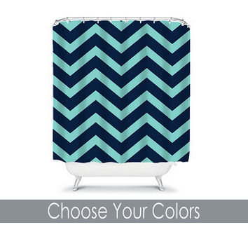 CUSTOM You Choose Colors Navy Turquoise Chevron Pattern Bathroom Bath Shower Curtain Polyester Made in the USA