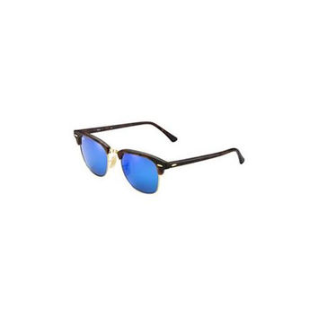 Ray Ban RB3016 Clubmaster Sunglasses-114517 Havana (Gray Mirr Blue Lens)-51mm