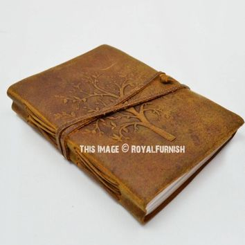 Brown Tree of Life Leather Journal Diary Notebook on RoyalFurnish.com