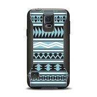 The Vector Blue & Black Aztec Pattern V2 Samsung Galaxy S5 Otterbox Commuter Case Skin Set