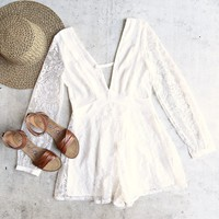 lace overlay romper - white