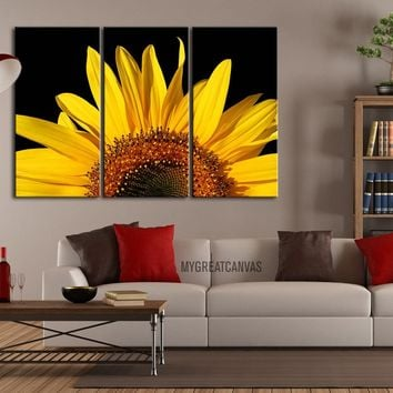 Canvas Art Yellow Sunflower - Canvas Art sunflower - Framed 3 Panel Sunflower Giclee Canvas Print - MC214