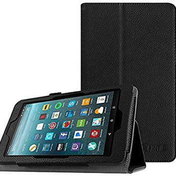 Fintie Folio Case for All-New Amazon Fire 7 Tablet (7th Generation, 2017 Release) - Slim Fit PU Leather Standing Protective Cover Auto Wake / Sleep, Compatible with Fire 7 (5th Gen, 2015), Black