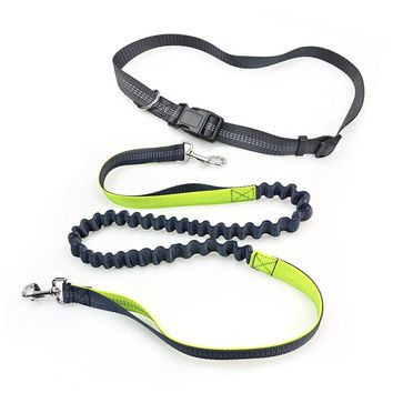 2017 Elastic Running Pet Dog Leash Adjustable Waist Padded with Reflective Yarn Dog Running Rope Hands Free Doing Sports