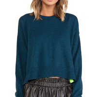 T by Alexander Wang Pop Accent Pullover in Teal
