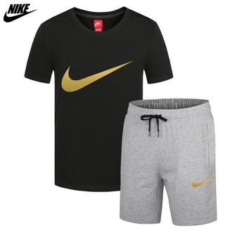 NIKE trend men's thin section sports breathable casual short-sleeved shorts running two-piece Black