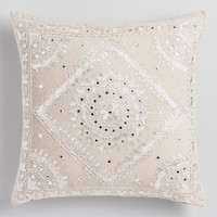Embroidered Pakka Mirror Throw Pillow