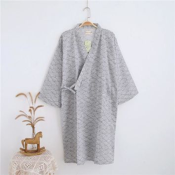 Long Sleeved Cotton Bathrobe Mens Kimono Robe Japanese Yukata Mens Peignoir Longue Spring/Autumn Dressing Gown for Men