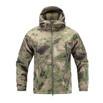 Soft Shell V4 Military Tactical Jacket Men Waterproof Windproof Warm Camouflage Hooded Camo Army Clothing