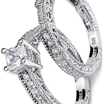 1.15 Carats Sterling Silver 925 Princess Cut Carved Bridal Set Engagement Ring Wedding Band W/ Cubic Zirconia